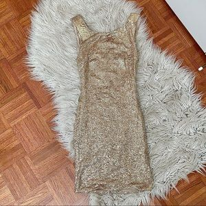 Gold/champagne sequin mini dress XS